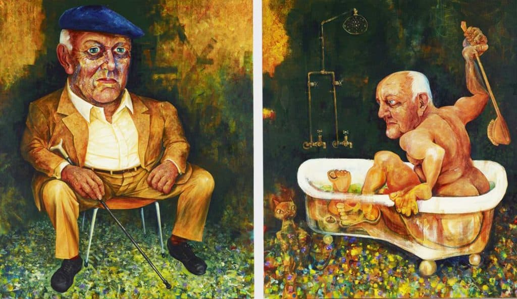 Victor Rubin - John Olsen - A diptych - part I seated: part II in his bath (2010)