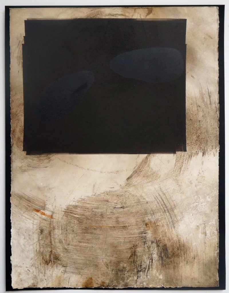 Peter Thomas<br><em>Never too late to love you 2</em>, 2019<br>Monotype and earth, smoke, water, fire on cotton rag paper<br>53 cm by 40 cm<br>$950