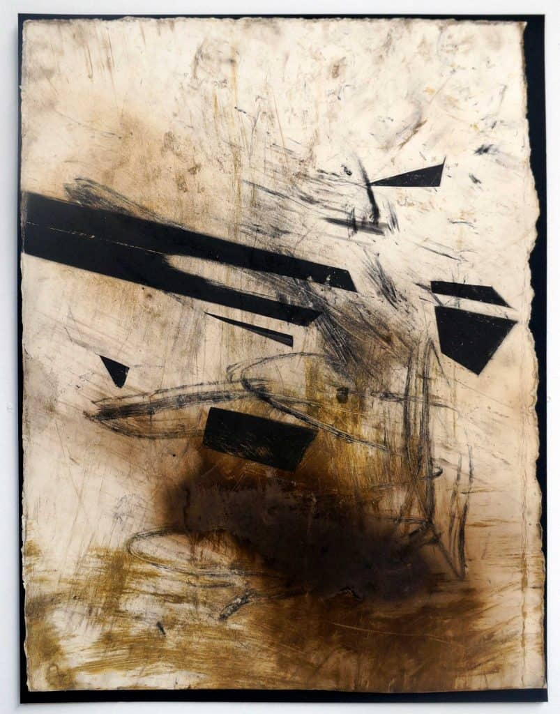 Peter Thomas<br><em>Never too late to love you 5</em>, 2019<br>Monotype and earth, smoke, water, fire on cotton rag paper<br>53 cm by 40 cm<br>$950