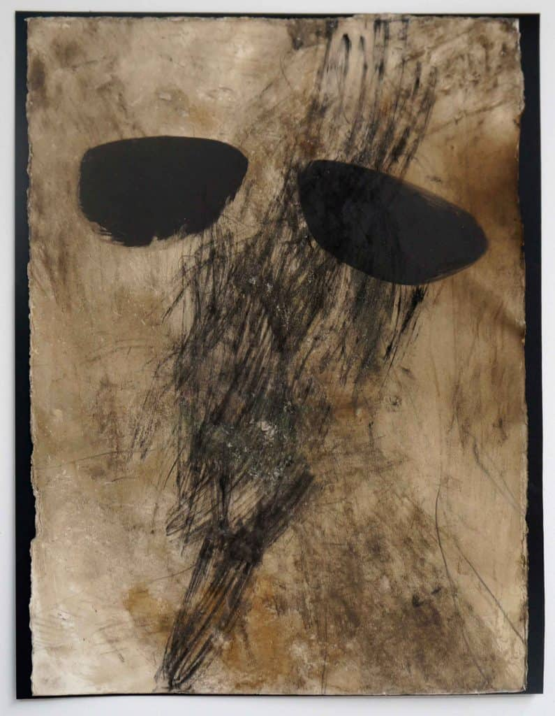 Peter Thomas<br><em>Never too late to love you 1</em>, 2019<br>Monotype and earth, smoke, water, fire on cotton rag paper<br>53 cm by 40 cm<br>$950