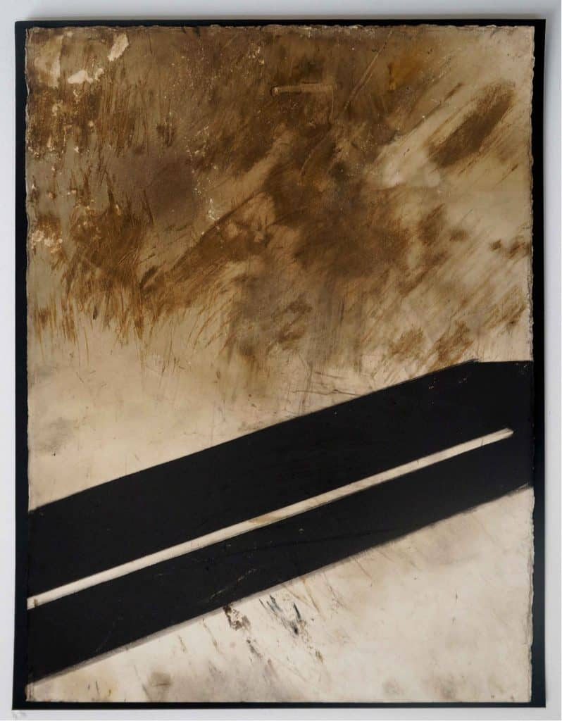 Peter Thomas<br><em>Never too late to love you 3</em>, 2019<br>Monotype and earth, smoke, water, fire on cotton rag paper<br>53 cm by 40 cm<br>$950