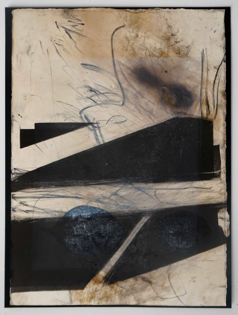 Peter Thomas<br><em>Never too late to love you 4</em>, 2019<br>Monotype and earth, smoke, water, fire on cotton rag paper<br>53 cm by 40 cm<br>$950