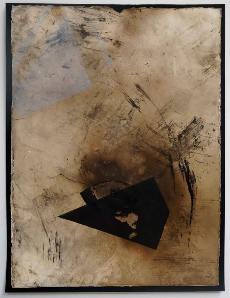 Peter Thomas<br><em>Never too late to love you 6</em>, 2019<br>Monotype and earth, smoke, water, fire on cotton rag paper<br>53 cm by 40 cm<br>$950