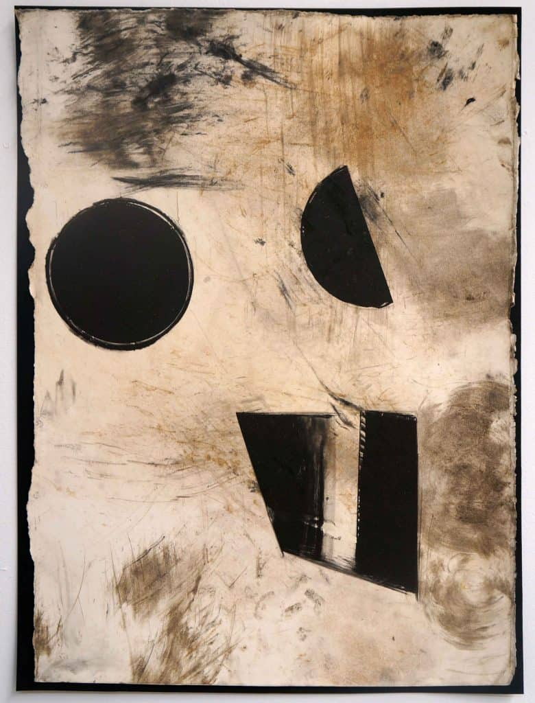Peter Thomas<br><em>Never too late to love you 7</em>, 2019<br>Monotype and earth, smoke, water, fire on cotton rag paper<br>53 cm by 40 cm<br>$950