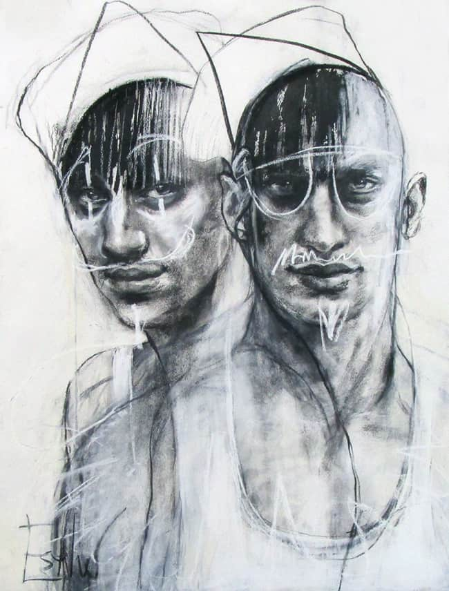 Esther Erlich Think Tank, 2020 Charcoal and ink on paper, framed79 cm by 69 cm$3,500