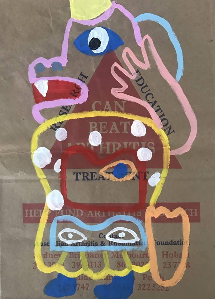 Nigel SenseBangkok, 2020 Acrylic on malt bag43 cm x 31 cm$500