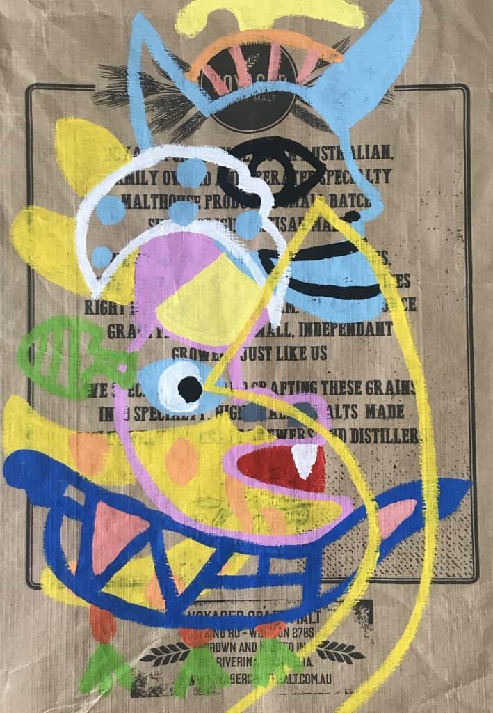Nigel SenseChetumal, 2020 Acrylic on malt bag45 cm x 65 cm$600