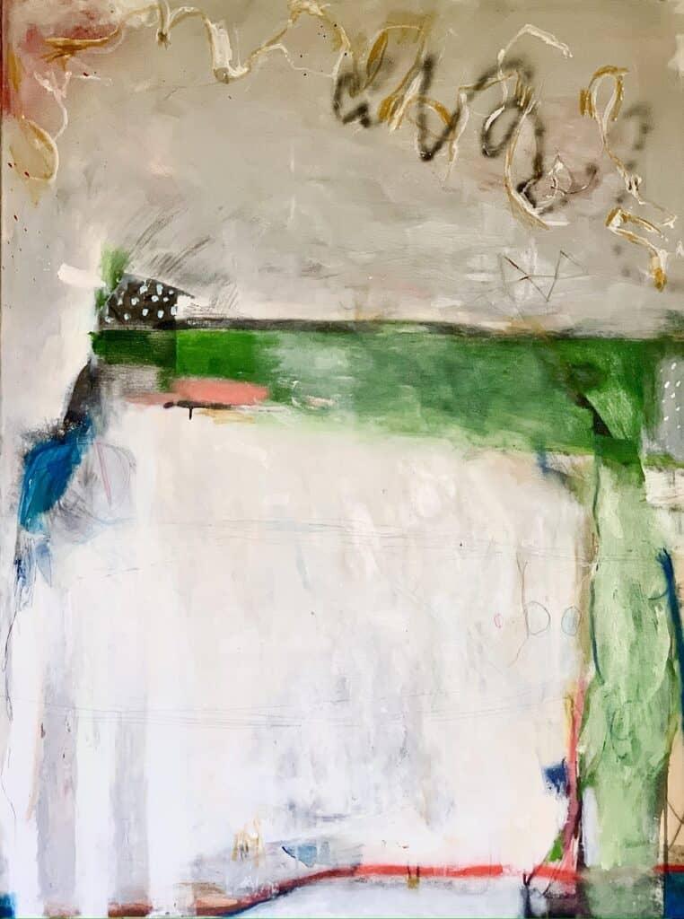 Harold David<br><em>T on a Flower Tray</em>, 2021<br>Mixed media on canvas<br>122 cm by 91 cm<br>$3,800