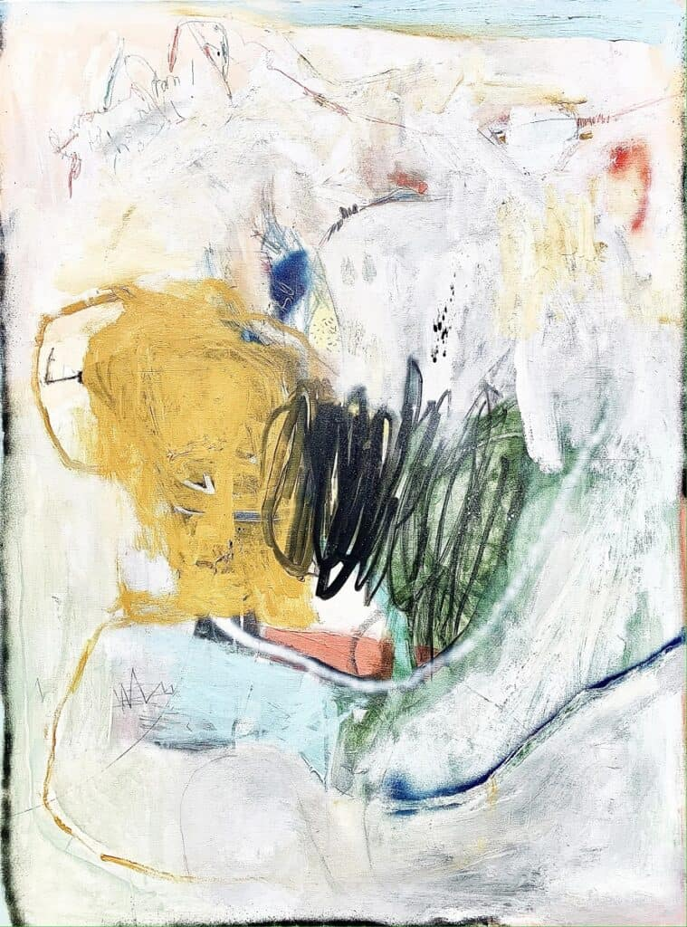 Harold David<br><em>To Fall without Aim</em>, 2021<br>Mixed media on canvas<br>122 cm by 91 cm<br>$3,800