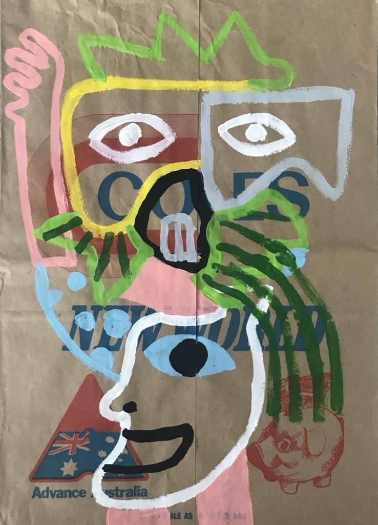 Nigel SenseHat Yai, 2020 Acrylic on malt bag43 cm x 31 cm$500