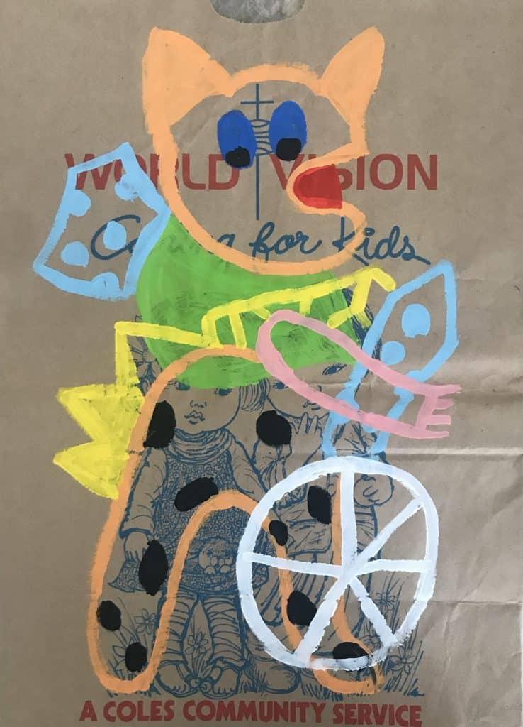 Nigel SenseKorat, 2020 Acrylic on malt bag43 cm x 31 cm$500