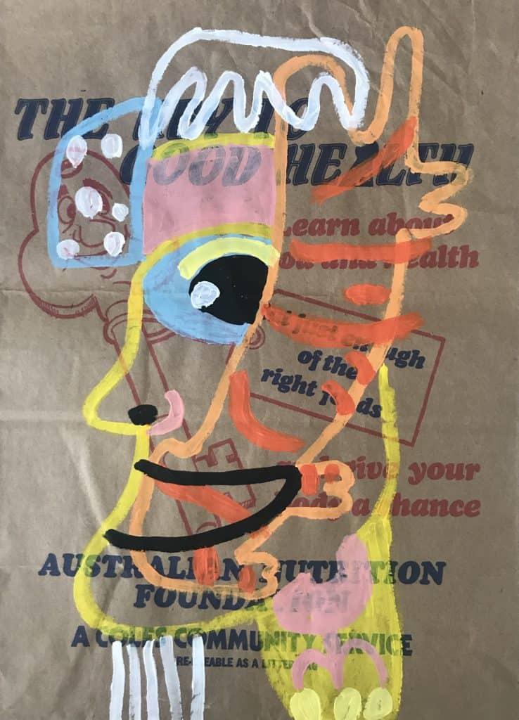 Nigel SenseLangkawi , 2020 Acrylic on malt bag43 cm x 31 cm$500