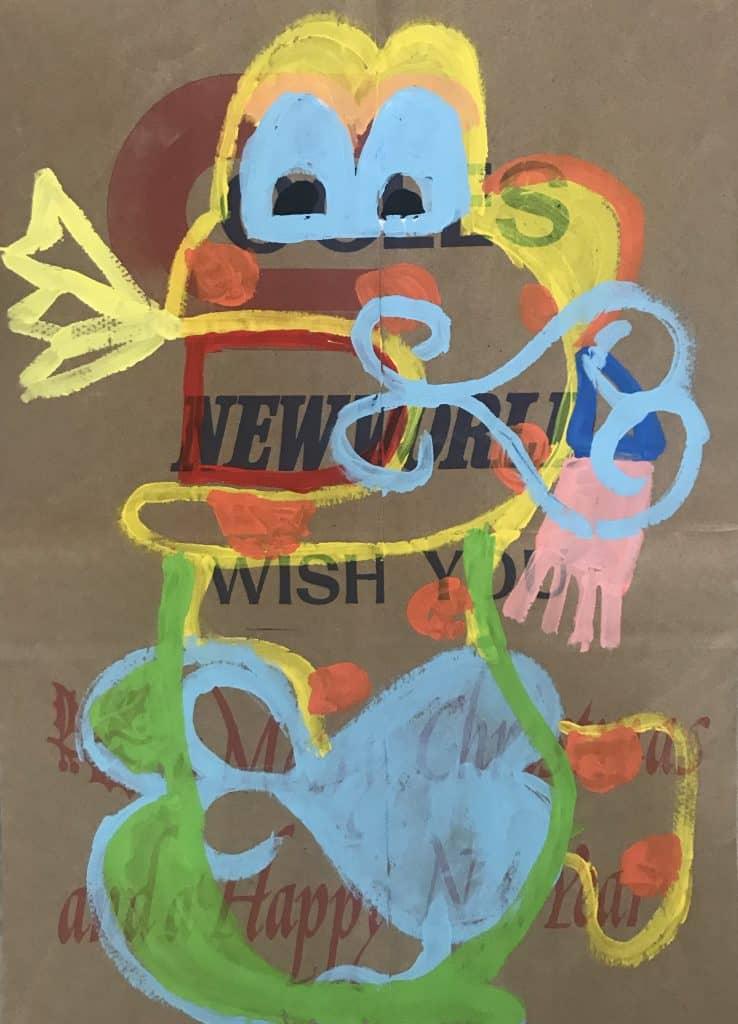 Nigel SensePhimai, 2020 Acrylic on malt bag43 x 31 cm$500