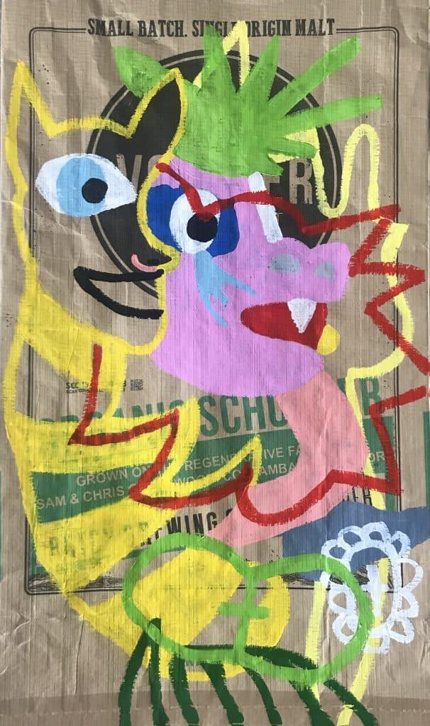 Nigel SensePlaya , 2020 Acrylic on malt bag45 x 76cm$600