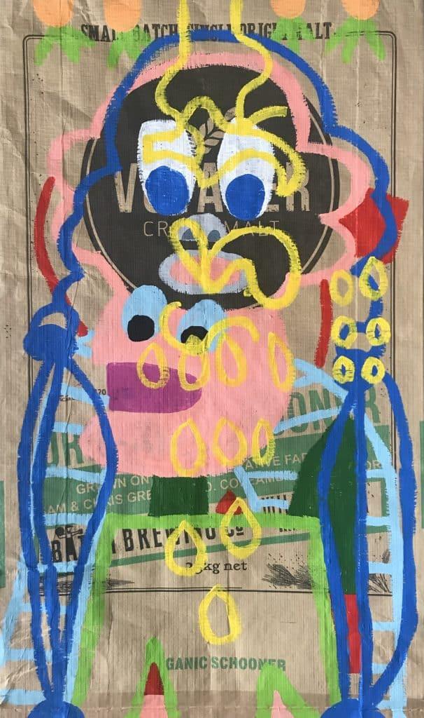 Nigel SenseTulum , 2020 Acrylic on malt bag45 cm x 76 cm$1,200