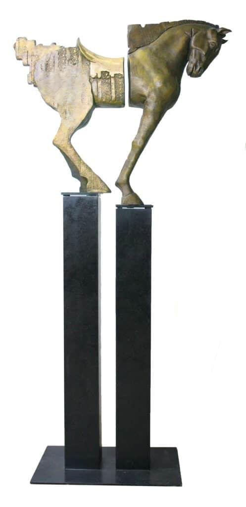 Stephen Glassborow <br><em>Hi Horse</em>, 2020 <br>Bronze and steel sculpture<br>200 cm by 94 cm by 38 cm<br>$24,000