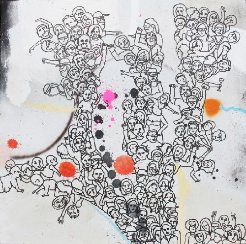 Eddie Botha1000 Emotions part 2 of 4, 2021 Indian ink on mixed media board60 cm by 60 cm$1000 ($3200 for set)