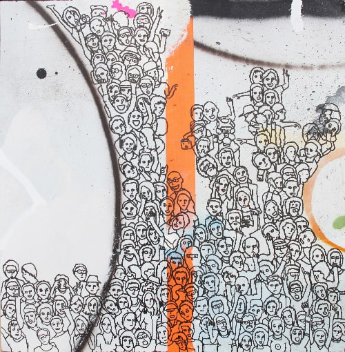 Eddie Botha1000 Emotions part 3 of 4, 2021 Indian ink on mixed media board60 cm by 60 cm$1000 ($3200 for set)
