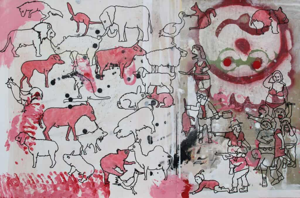 Eddie BothaEat Your Animals, 2021 Indian ink on mixed media board61 cm by 91.5 cm$1500