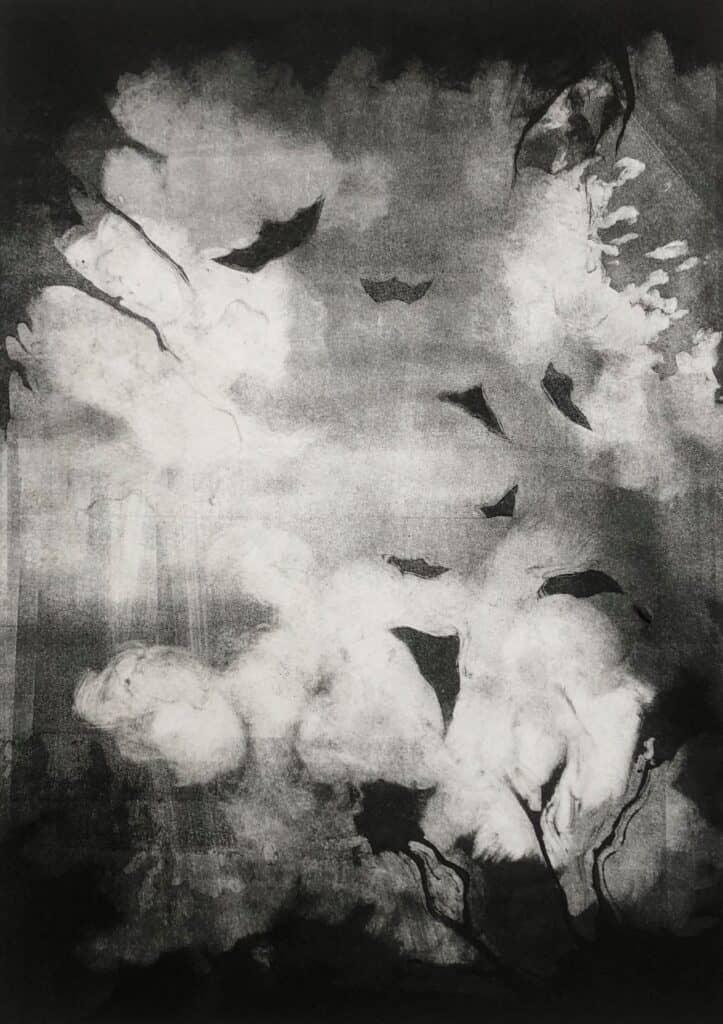 Charlotte Watson<br><em>Nightwalk 5</em>, 2020<br>Monotype on Somerset paper<br>22 cm by 29.5 cm<br>$1100