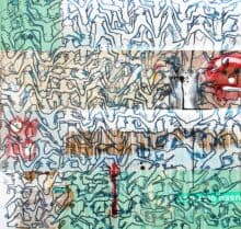 Eddie BothaBlurred Boundaries, 2021 Indian ink on mixed media board110 cm by 110 cm$1800