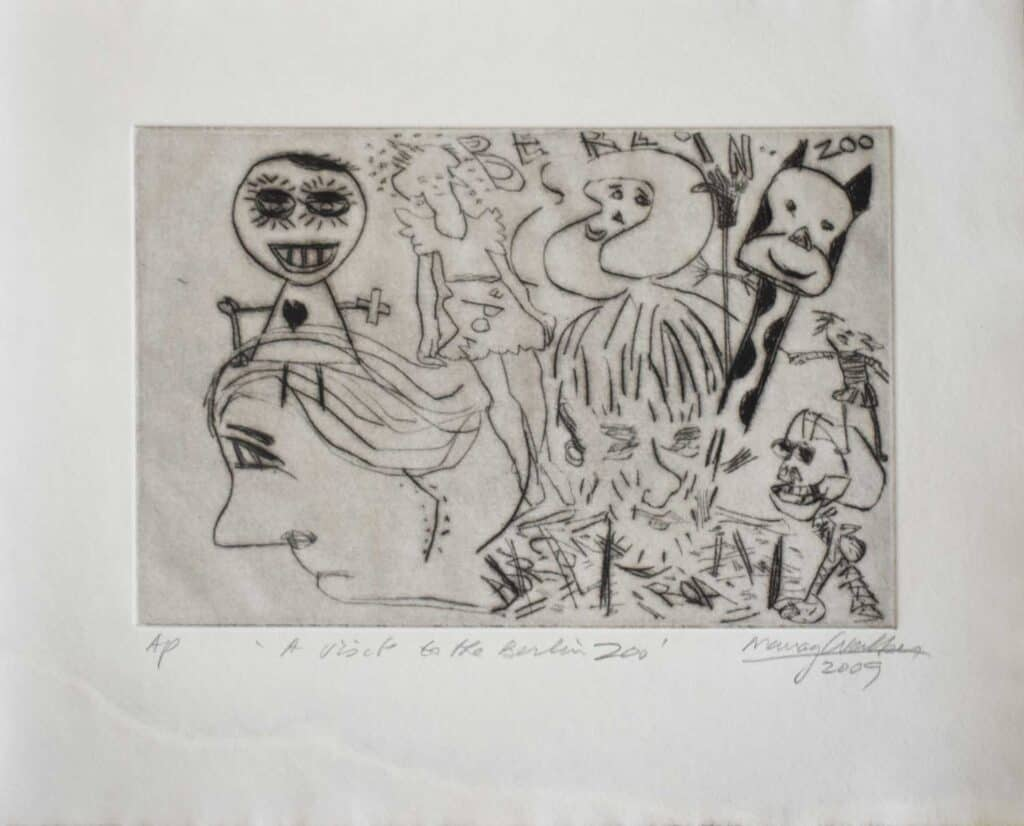 Murray Walker<br><em>A visit to the Berlin Zoo</em>, 2009<br>Drypoint etching on Barcham Green handmade paper<br>Artist Proof<br>25 cm by 31 cm<br>$875