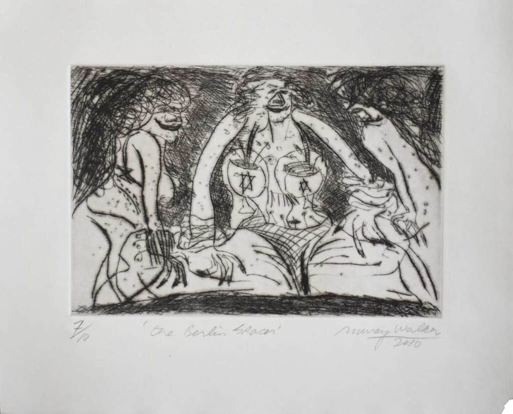 Murray Walker<br><em>The Berlin Three Grace</em>, 2010<br>Drypoint etching on Barcham Green handmade paper<br>Edition 7 of 10<br>25 cm by 31 cm<br>$875