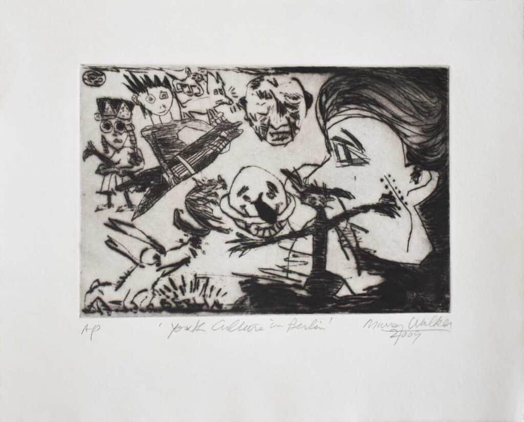 Murray Walker<br><em>Youth Culture in Berlin</em>, 2009<br>Drypoint etching on Barcham Green handmade paper<br>Artist Proof<br>25 cm by 31 cm<br>$875