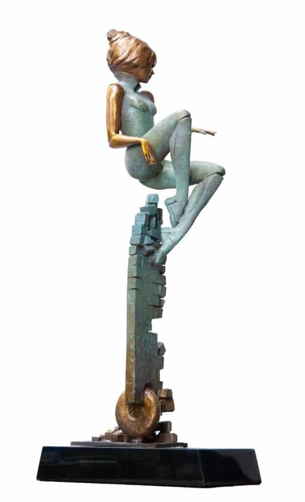 Stephen Glassborow <br><em>Airchair</em>, 2021 <br>Bronze sculpture<br>65 cm high<br>$7,400