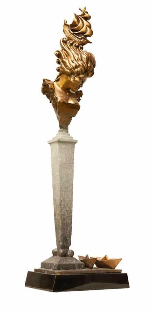 Stephen Glassborow <br><em>Flotilla (gold)</em>, 2021 <br>Bronze sculpture<br>80 cm high<br>$8,200