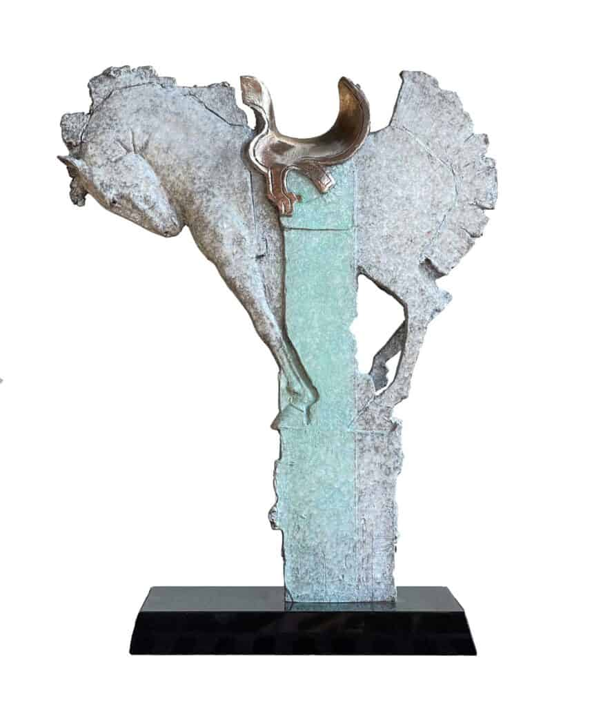 Stephen Glassborow <br><em>Saddle Up</em>, 2021 <br>Bronze sculpture<br>50 cm high<br>$8,500