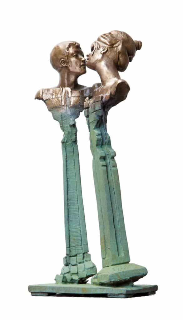 Stephen Glassborow Kissing Columns, 2021 Bronze sculpture38 cm high$8,200