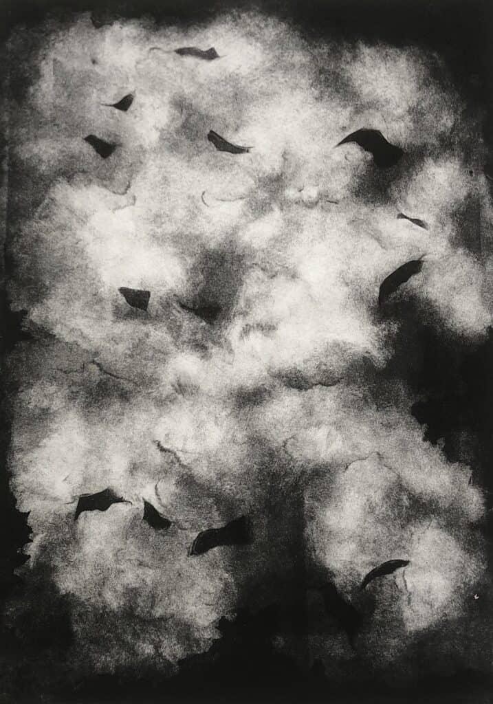 Charlotte Watson<br><em>Nightwalk 3</em>, 2020<br>Monotype on Somerset paper<br>22 cm by 29.5 cm<br>$1100