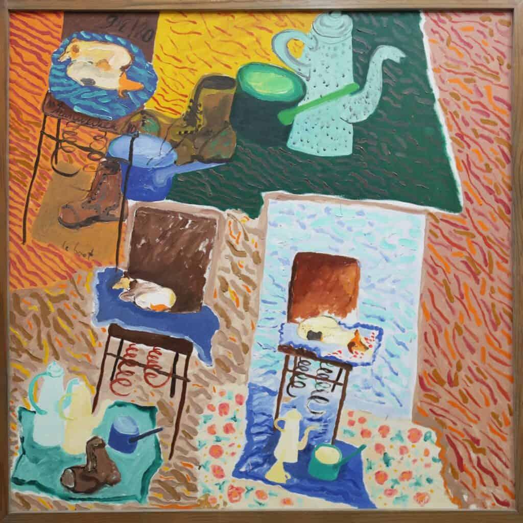 Murray Walker<br><em>Still Life Within the Artists Studio</em> , 1980<br>Oil on Belgian linen<br>79 cm by 65 cm<br>$6,700