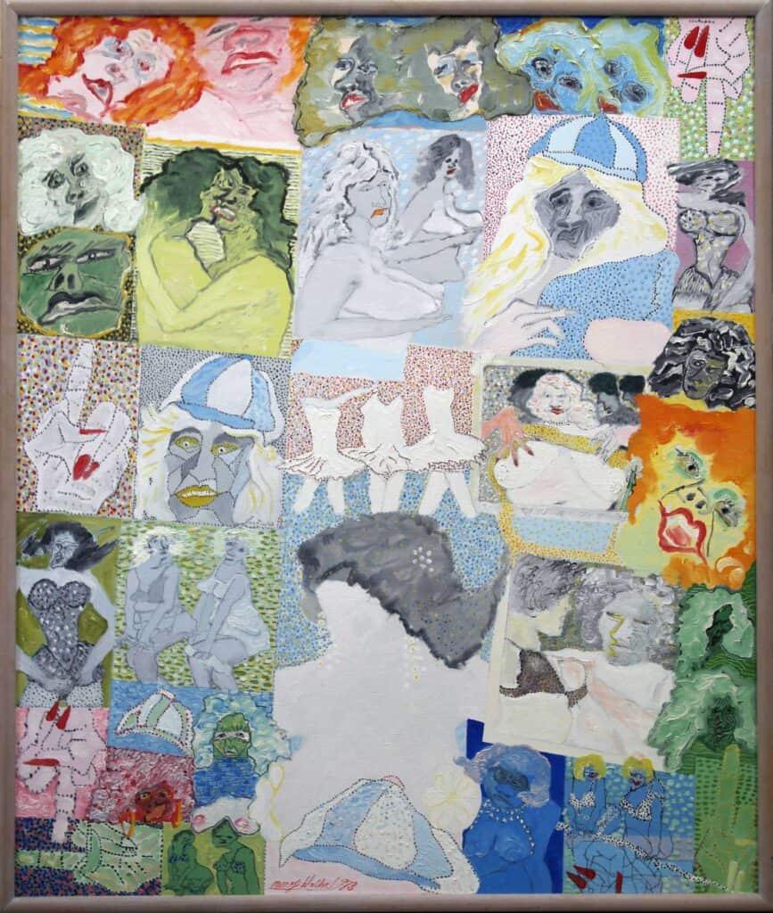 Murray Walker<br><em>Showbizz Memories</em><br> , 1983<br>Oil on Belgian linen<br>79 cm by 65 cm<br>$7,000
