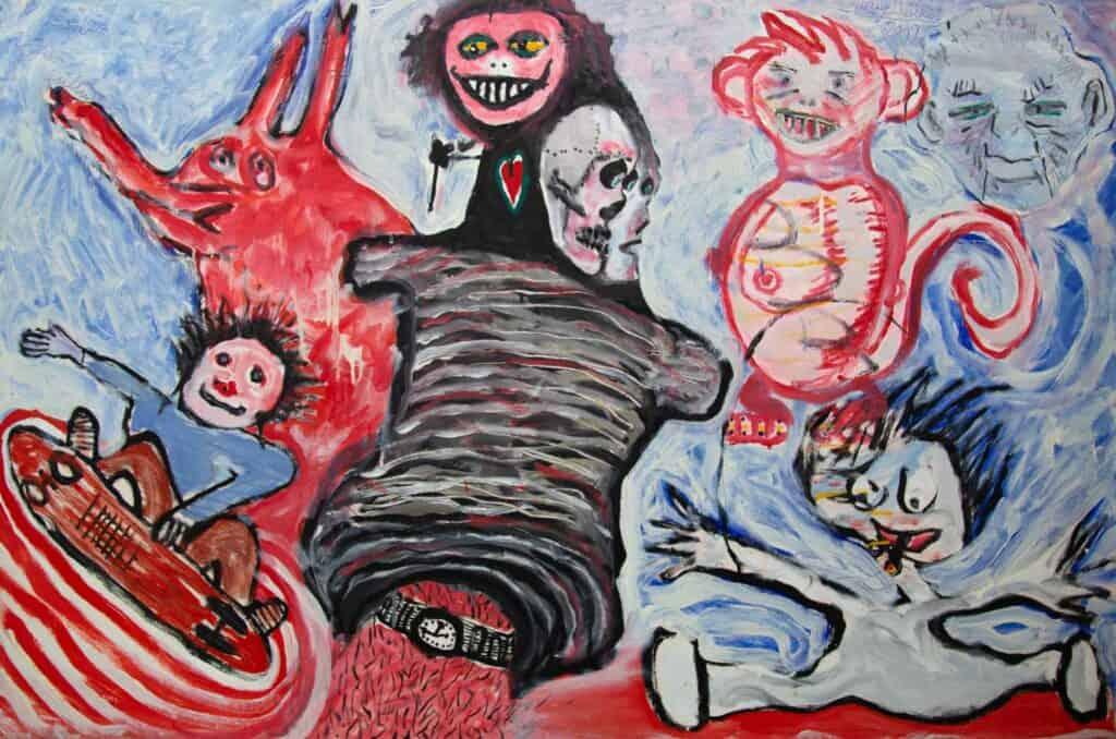 Murray Walker<br><em>It's been a wild ride in Berlin</em>, 2009<br>Oil on Belgian linen<br>91 cm by 138 cm<br>$8,750