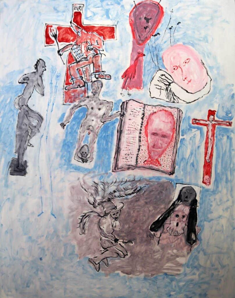 Murray Walker<br><em>Murray's Journey to the Holylands</em>, 2000<br>Oil on Belgian linen, framed<br>200 cm by 156 cm<br>$10,000