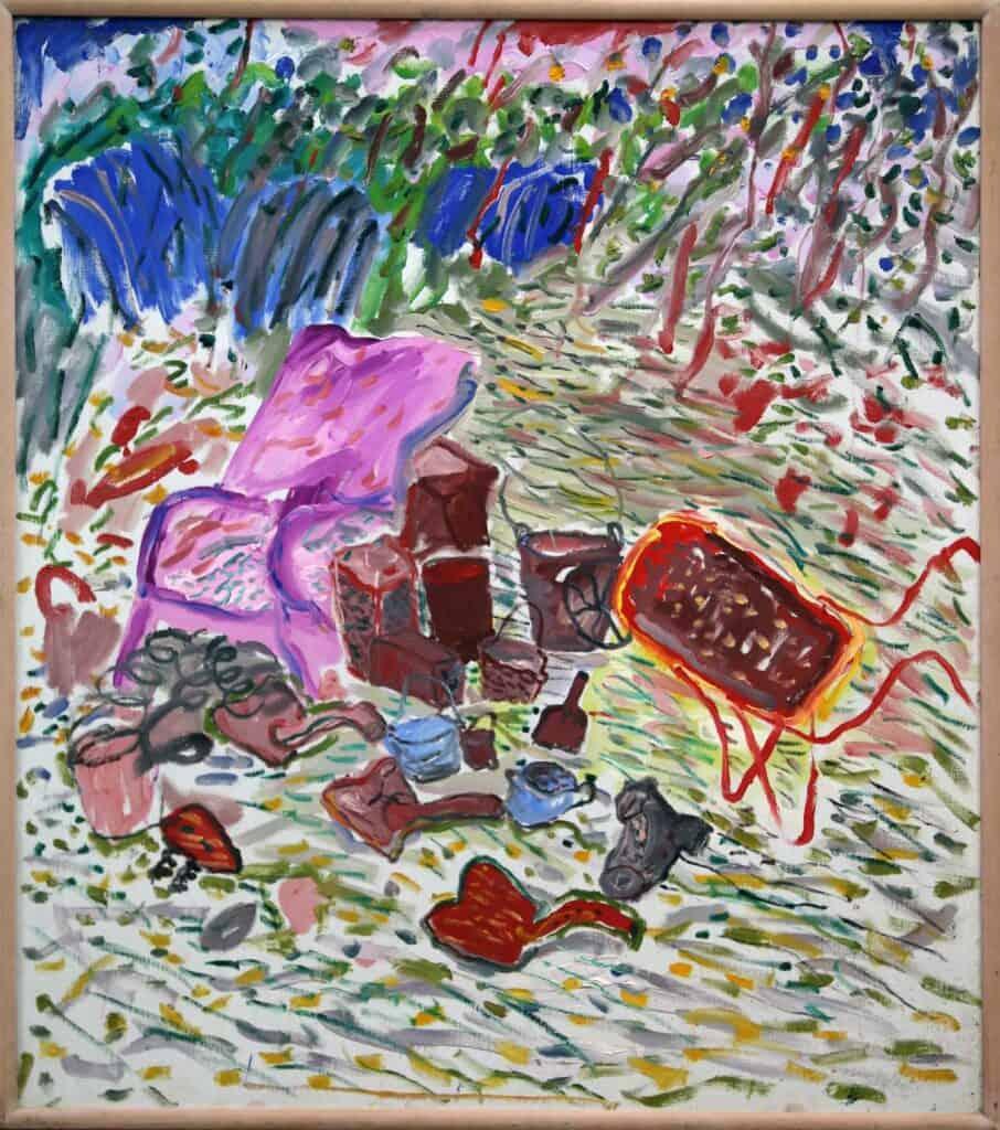 Murray Walker<br><em>Outdoor still life on the Farm</em><br>Oil on Belgian linen<br><br>$4,750