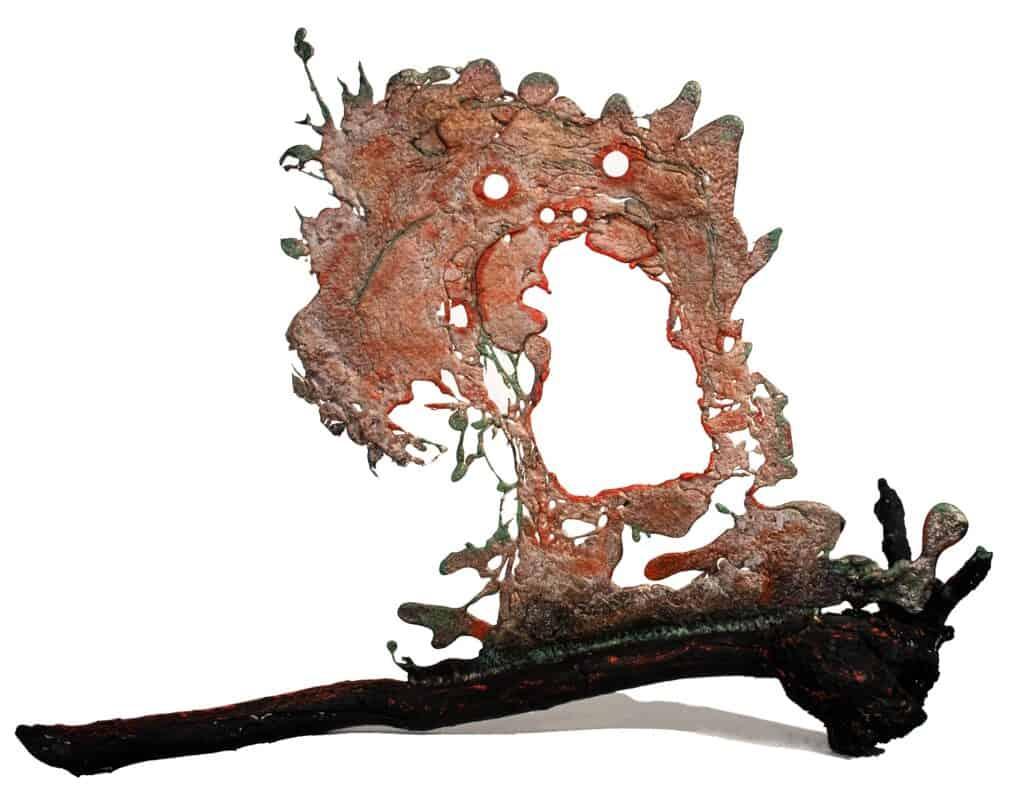 Murray Walker<br><em>After the Bushfires, Pyrenees</em>, 2020<br>Bronze assemblage<br>50 cm by 67 cm<br>$4,200