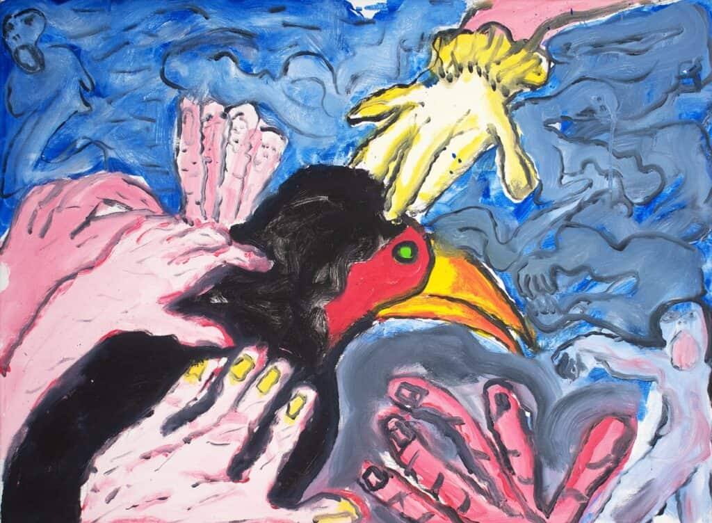 Murray Walker<br><em>The wounded Bird with the caring hands, Berlin</em>, 2015<br>Oil on Belgian linen<br>54 cm by 74 cm<br>$4,250