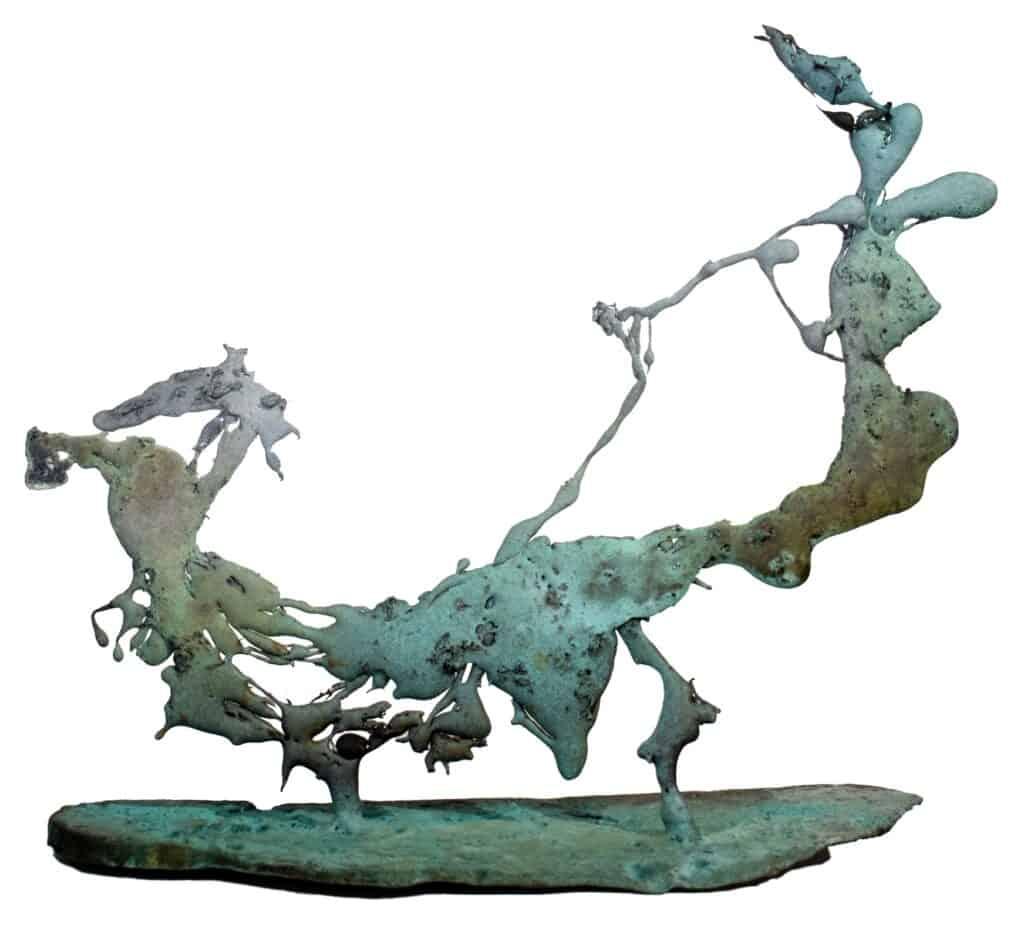 Murray Walker<br><em>Chariot of the Gods</em>, 2020<br>Bronze assemblage<br>32 cm by 36 cm<br>$3,750