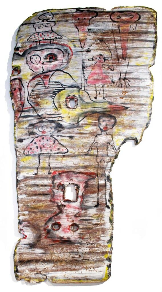 Murray Walker<br><em>Drifting Memories by the Sea</em>, 2015<br>Driftwood from Childers Cove<br>120 cm by 63 cm<br>$4,500