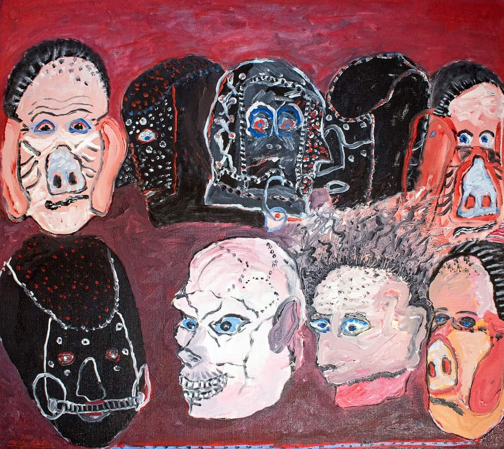 Murray Walker<br><em>Howard Costello & the rest of The Gang</em>, 2001<br>Oil on Belgian linen, in white shadow box<br>86 cm by 96 cm<br>$8,750