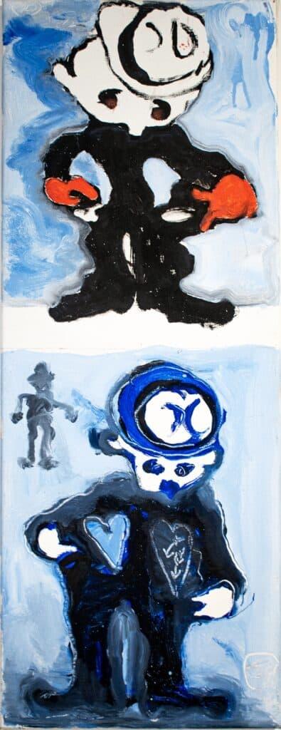 Murray Walker<br><em>My Pockets are empty, Paris poor</em>, 2012<br>Oil on Belgian linen<br>73 cm by 28 cm<br>$2950