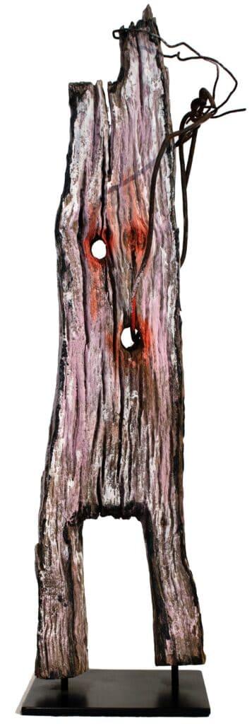Murray Walker<br><em>The Old Fencer</em>, 2005<br>Bush timber, hand split post from rail fence<br>59 cm by 17 cm by 15 cm<br>$3,750