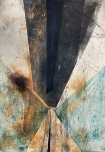 Peter ThomasSales Funnel, 2021Monotype, earth pigments, smoke and mixed media on cotton rag paper100 cm by 70 cm$1,000