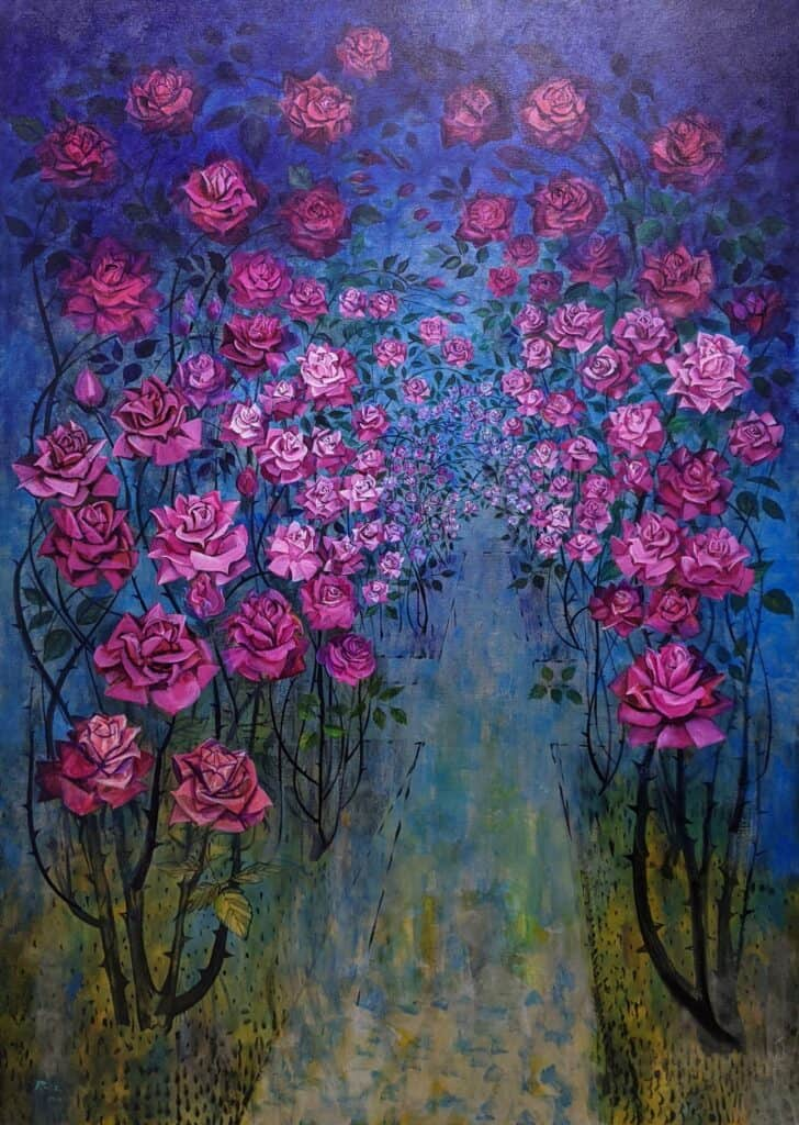 Victor RubinVariations of a Rose Pergola No 6, 2021Acrylic on canvas183.5 cm by 122 cm$14,000