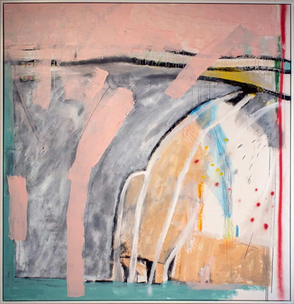 Harold David<br><em>Cargo Voyage</em>, 2020<br>Mixed media on canvas<br>200 cm by 190 cm<br>$7,500