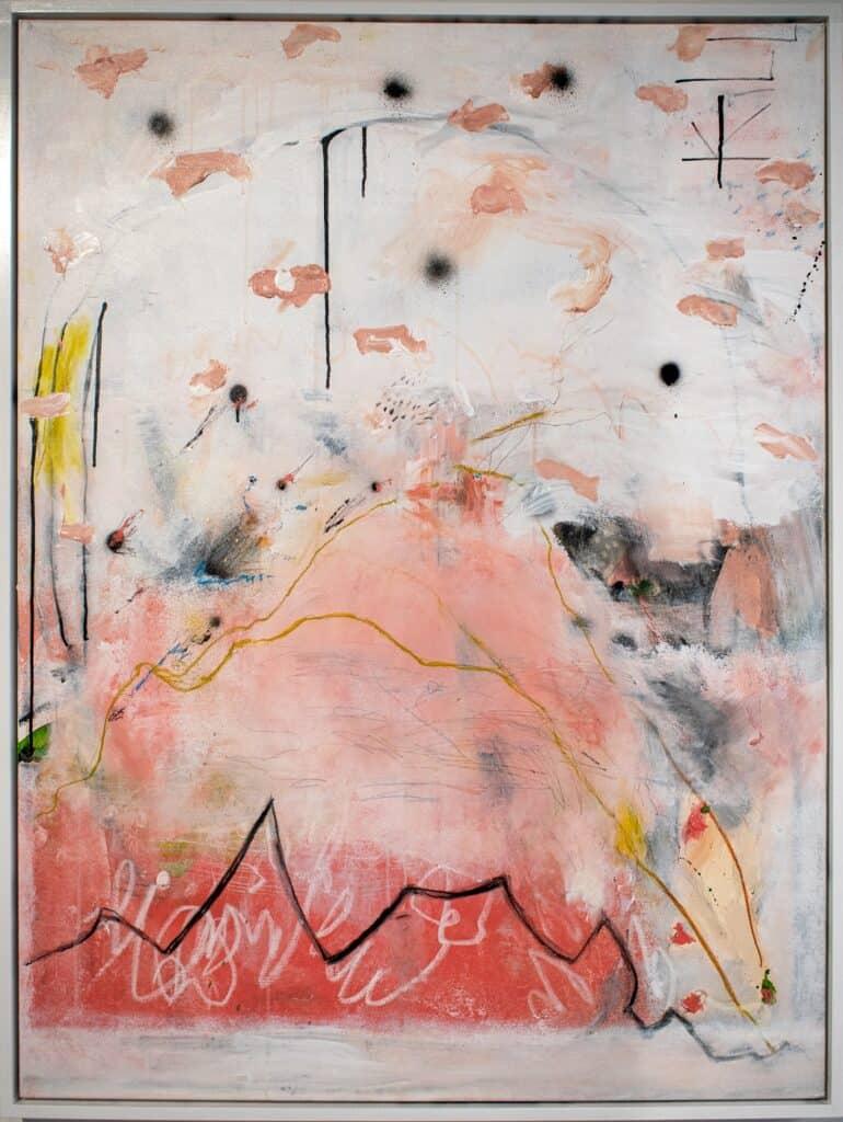 Harold David<br><em>Landing at the End of Time</em>, 2021<br>Mixed media on canvas<br>122 cm by 91 cm<br>$3,800
