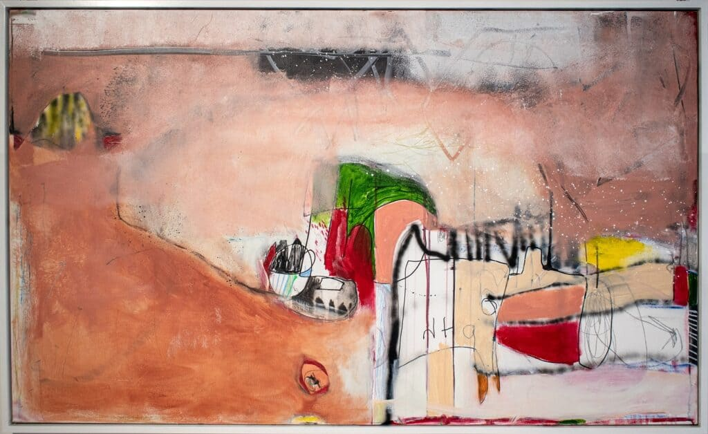 Harold David<br><em>On The Bird Walk Sensation</em>, 2021<br>Mixed media on canvas<br>91 cm by 152 cm<br>$4,200